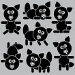 Icons cats isolated on a gray background — Stock Vector