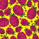 多色のラズベリーのシームレスなパターン — ストックベクタ