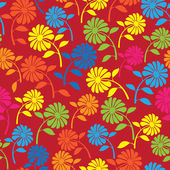 Colorful wild flowers seamless pattern — Vetorial Stock