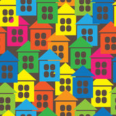 Multicolored houses icon of seamless pattern — Stock Vector