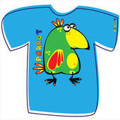 T-shirt with a parrot on white background  — Vector de stock