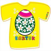 T-shirt con uovo di pasqua, su sfondo bianco — Vettoriale Stock