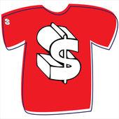 T-shirt med ett dollartecken på vit bakgrund — Stockvektor