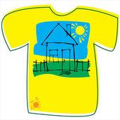T-shirt con una casa su sfondo bianco — Vettoriale Stock
