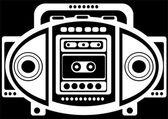 黒の背景にカセット レコーダー — ストック写真