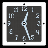 Square clock vector on black background — Photo