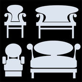 Furniture icons isolated on black background — Stockfoto
