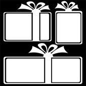 Gift box icons on black background — Stock Photo