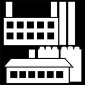 Industrial house icon set isolated on black background — Stock Photo