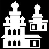 Churches icon isolated on black background — Stock Photo