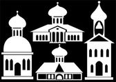 Churches icon set isolated on black background — Stock Photo