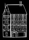 Vintage framing house isolated on black background — Stock Photo