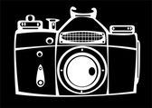 Vintage film photo camera isolated on black background — Stock Photo