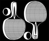 Ping pong tennis racket isolated on black background — Stock Photo