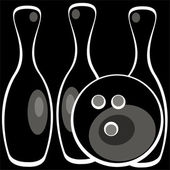 Round bowling isolated on a black background — Zdjęcie stockowe