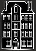 Casa vintage isolada no fundo preto — Fotografia Stock
