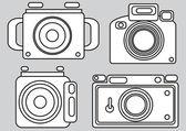 Iconos de cámara aislados sobre fondo gris — Vector de stock