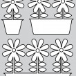 Pot of flowers icons isolated on gray background — Stock Vector #47796557