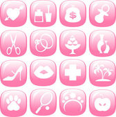 Set of icons women interests glossy pink buttons — Stock Vector