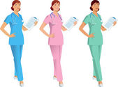Nurse, doctor, medical assistant in three color variations — Stock Vector
