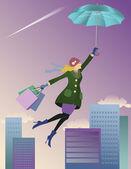 Flying Shopper — Stock Vector