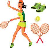 Tennis vektor illustration set — Stockvektor