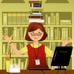 Fun librarian — Stock Vector