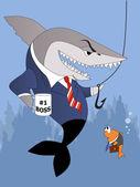 Business shark is not a good boss — Stock Vector