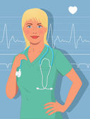 Attractive female nurse — Stock Vector