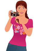 Tourist taking photos — Stock Vector