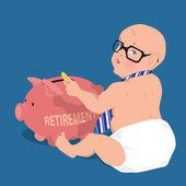 Erken emeklilik için tasarruf başlayın — Stok Vektör
