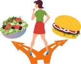 Choosing between healthy food and fast food — Stock Vector