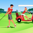 Young couple playing golf — Stock Vector