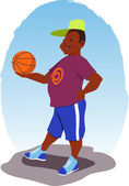 Guy with a basketball — Stock Vector