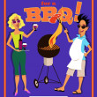 Invitation to a barbecue party template — Stock Vector