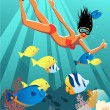 snorkeling girl — Stock Vector