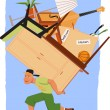Mover with a pile of furniture — Imagen vectorial