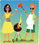 Couple at a barbecue party — Stock Vector