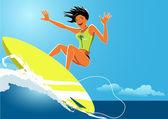 Girl surfer — Stock Vector