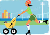 Mom jogging with a stroller — Stock Vector