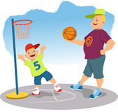 Father and son shooting hoops — Stock Vector