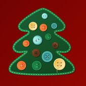 Kartki świąteczne z drzewem przycisk — Wektor stockowy