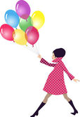 Pregnant woman walking with balloons — Stock Vector