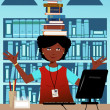 Librarian with books on her head — Stock Vector
