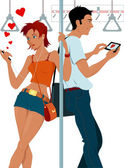 Young couple sexting on a subway — Stock Vector