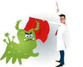 Doctor taming a virus with a vaccine shot — Stock Vector