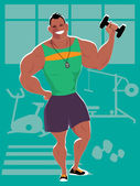 Personal trainer at the gym — Stock Vector