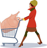 Grocery shopping for holidays — Stock Vector