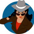 Stock Vector: Female secret agent