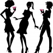 Three party girls silhouettes — Stock Vector